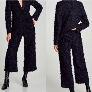 Zara Crop Pants Black Feather High Rise